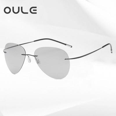 OULE 新款超轻钛合金无框太阳镜 男女偏光变色驾驶蛤蟆镜 B款