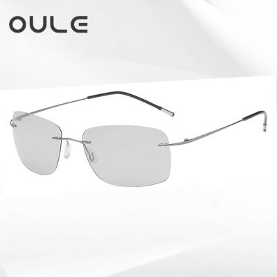 OULE 新款超轻钛合金无框太阳镜 男女偏光变色驾驶蛤蟆镜 D款