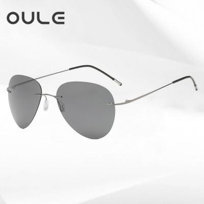 OULE 超轻无框折叠太阳镜 男士钛合金骑行偏光蛤蟆镜 黑灰片