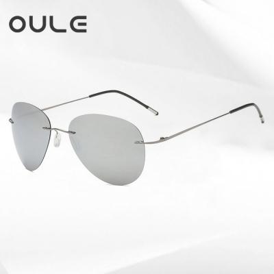 OULE 超轻无框折叠太阳镜 男士钛合金骑行偏光蛤蟆镜 水银片