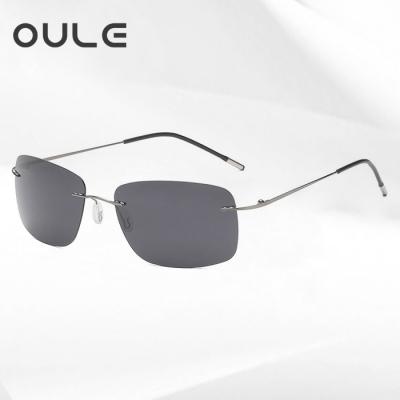 OULE 新款方框折叠超轻钛合金太阳镜 男女无框偏光潮流驾驶镜 黑灰色
