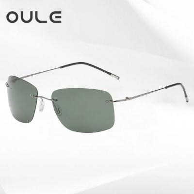 OULE 新款方框折叠超轻钛合金太阳镜 男女无框偏光潮流驾驶镜 墨绿色