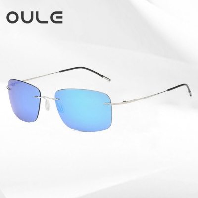 OULE 新款方框折叠超轻钛合金太阳镜 男女无框偏光潮流驾驶镜 冰蓝色