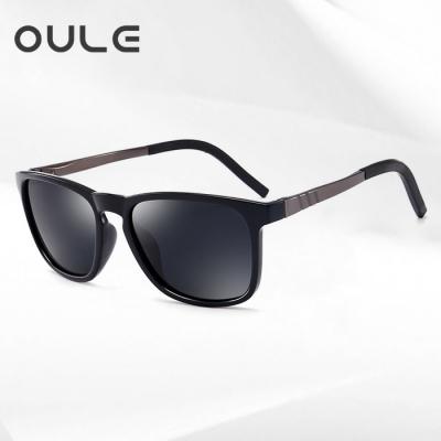 OULE 新款潮男驾驶太阳镜 男士钓鱼开车专用偏光太阳镜 黑灰片