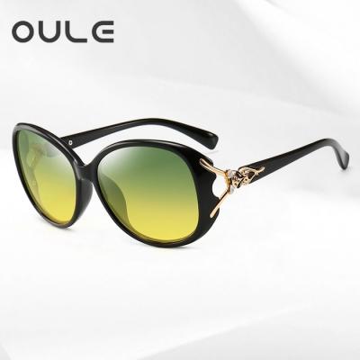 OULE 日夜两用女士太阳镜 开车专用防远光女偏光驾驶墨镜 两用款