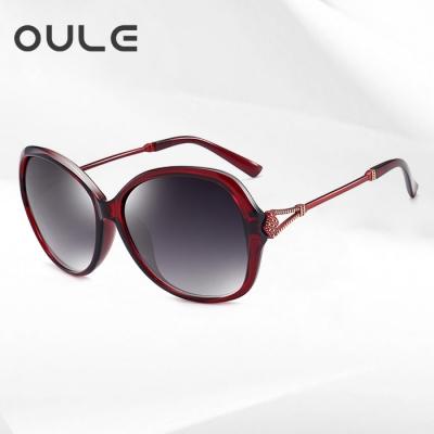 OULE 新款女士优雅太阳镜 防紫外线偏光镜驾驶开车墨镜 酒红色