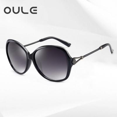 OULE 新款女士优雅太阳镜 防紫外线偏光镜驾驶开车墨镜 黑色