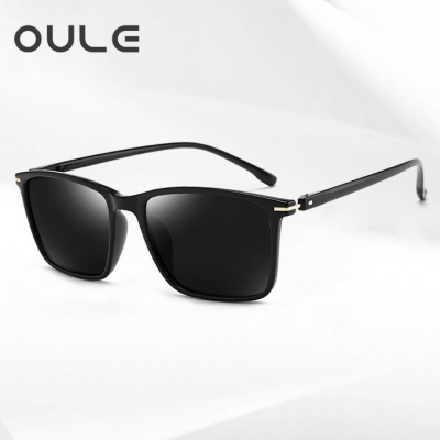 OULE 新款TR90超轻偏光太阳镜 男女开车驾驶潮人复古墨镜 黑灰片