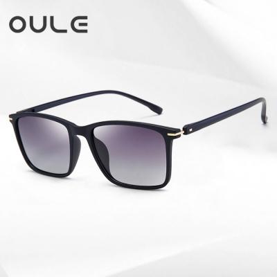 OULE 新款TR90超轻偏光太阳镜 男女开车驾驶潮人复古墨镜 双灰片