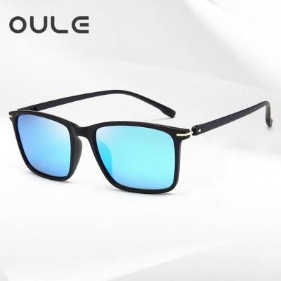 OULE 新款TR90超轻偏光太阳镜 男女开车驾驶潮人复古墨镜 冰蓝片