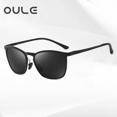 OULE 韩版复古男士太阳镜 潮流超轻镁铝合金方形开车偏光墨镜 黑灰片