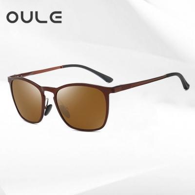 OULE 韩版复古男士太阳镜 潮流超轻镁铝合金方形开车偏光墨镜 茶色片