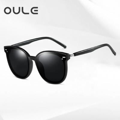 OULE 显瘦GM韩版潮网红款街拍防紫外线墨镜 男女同款偏光太阳镜 黑色