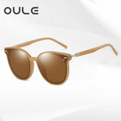 OULE 显瘦GM韩版潮网红款街拍防紫外线墨镜 男女同款偏光太阳镜 茶色茶片