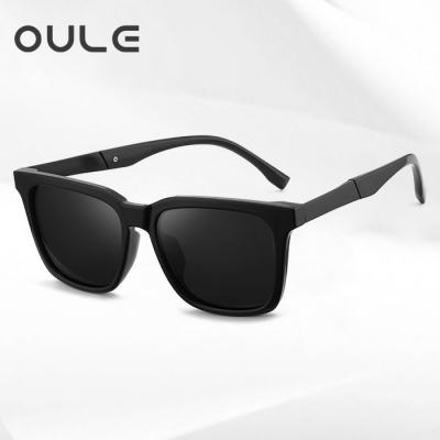 OULE 新款男士韩版太阳眼镜 个性方形开车驾驶偏光墨镜 黑框黑片