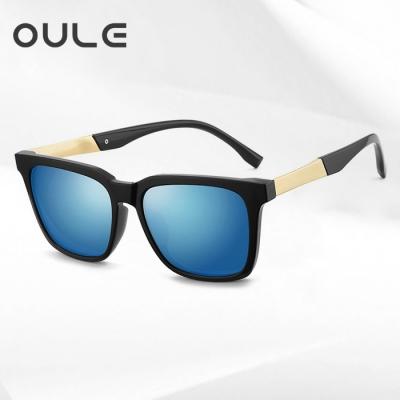 OULE 新款男士韩版太阳眼镜 个性方形开车驾驶偏光墨镜 黑框蓝片