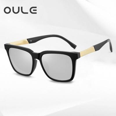 OULE 新款男士韩版太阳眼镜 个性方形开车驾驶偏光墨镜 金框水银片