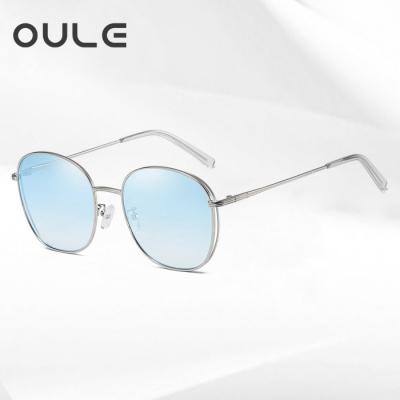 OULE 女韩版潮流复古网红网红 新款防紫外线偏光太阳镜 冰蓝片