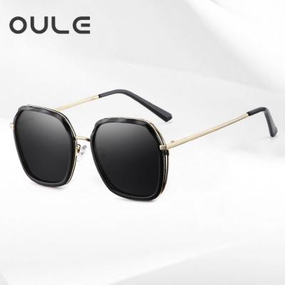OULE 新款女防紫外线偏光太阳镜 韩版潮流网红时尚街拍墨镜 黑灰片