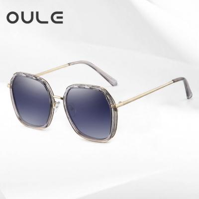 OULE 新款女防紫外线偏光太阳镜 韩版潮流网红时尚街拍墨镜 渐进蓝