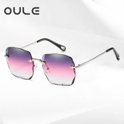 OULE 海洋片切边方形太阳镜 韩版潮女个性透明框墨镜 银框渐变紫