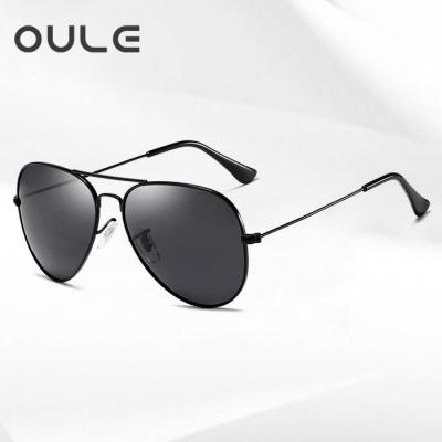 OULE 经典男女潮流防紫外线蛤蟆镜 时尚开车驾驶偏光太阳镜 黑灰色
