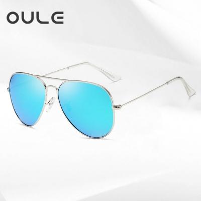 OULE 经典男女潮流防紫外线蛤蟆镜 时尚开车驾驶偏光太阳镜 冰蓝色