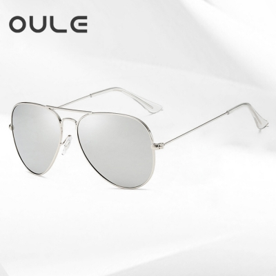 OULE 经典男女潮流防紫外线蛤蟆镜 时尚开车驾驶偏光太阳镜 水银色