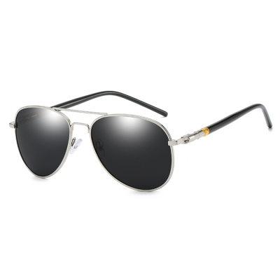 OULE 时尚男士偏光太阳镜 新款开车驾驶蛤蟆墨镜 银框