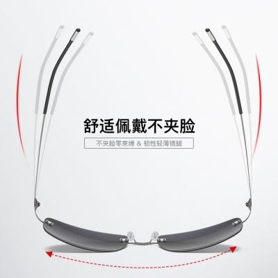 OULE 新款方框折叠超轻钛合金太阳镜 男女无框偏光潮流驾驶镜 其他备注