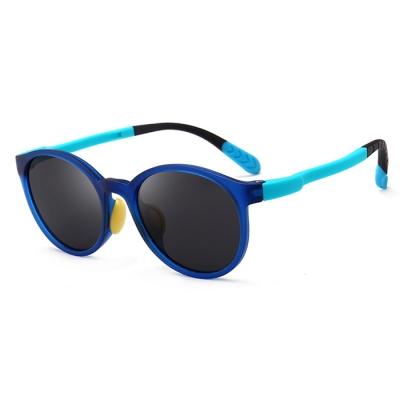 OULE 儿童防紫外线偏光太阳镜 男女童时尚潮流防晒眼镜 蓝色框