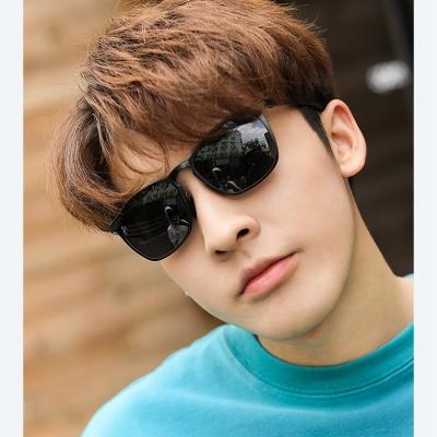 OULE 韩版复古男士太阳镜 潮流超轻镁铝合金方形开车偏光墨镜 冰蓝片