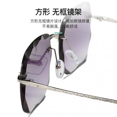 OULE 海洋片切边方形太阳镜 韩版潮女个性透明框墨镜 银框渐变灰