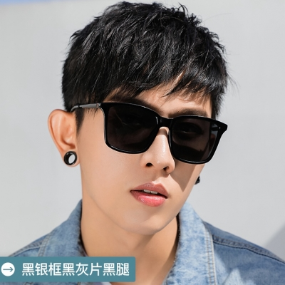 OULE 男韩版潮时尚防紫外线偏光太阳镜 男士开车专用驾驶镜 冰蓝片